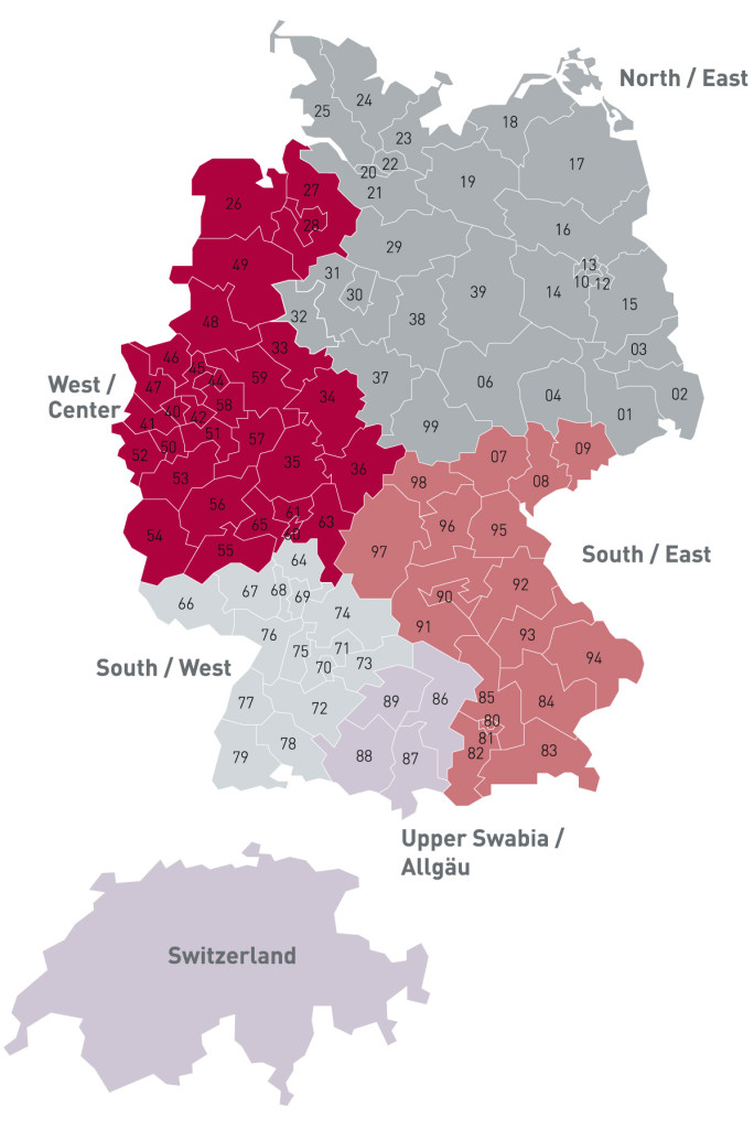 Germany-Postal Area Code Map